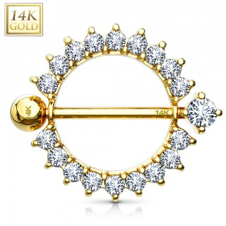 14 Kt. gold nipple piercing with crystal sunburst