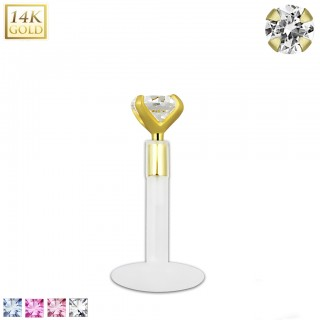 Bioflex labret with 14kt. gold top and coloured crystal