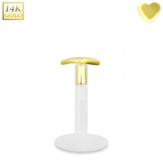 Bioflex labret with 14kt. gold heart shaped top