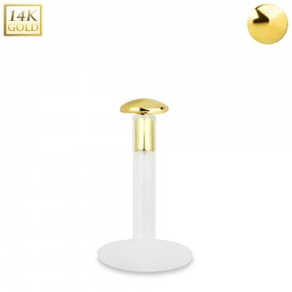 Bioflex labret with 14kt. gold round shaped top