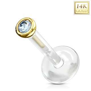 Labret stud with solid gold encased gem