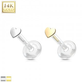 14Kt. Gold heart shaped flat topped bioflex labret stud