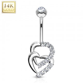 14 Kt. gold belly bar with twin crystallised open hearts