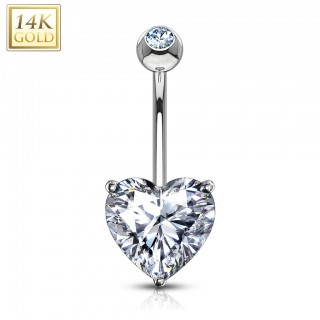 14 Kt. gold belly piercing with coloured crystal heart