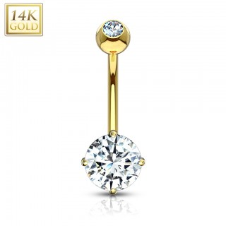 Solid gold belly ring with prong set crystal