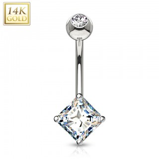 Solid gold belly bar with crystalised Princess cut