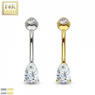 14 Kt. gold belly bar with crystal droplet