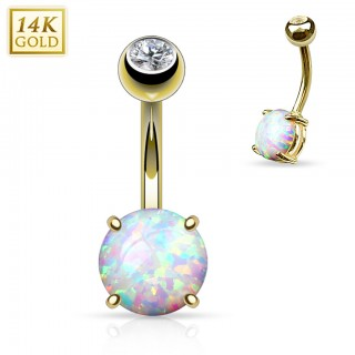 Solid gold belly bar with large Opal gem - 8 mm