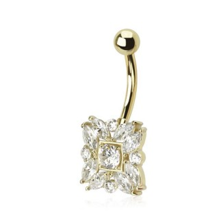 14 Kt. gold belly button piercing with round and Marquise cut crystals