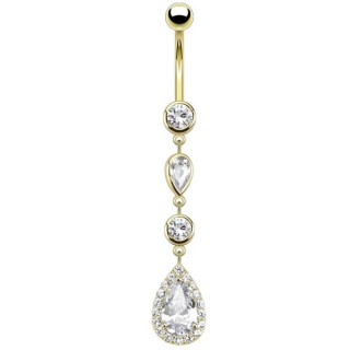 14kt. gold belly bar with crystallized tear drops