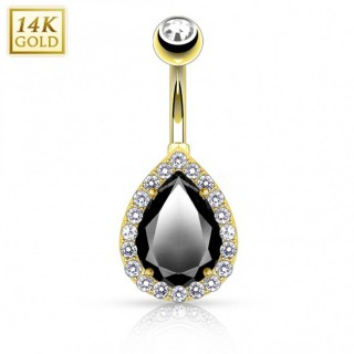 14 Kt. gold belly button piercing with big droplet crystal - Black