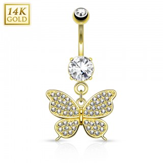 Belly bar of real gold with crystal butterfly