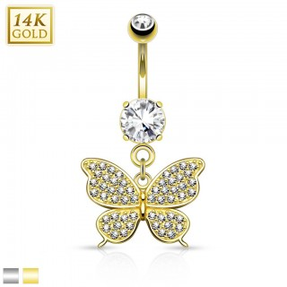 Solid gold belly ring with bejeweled butterfly