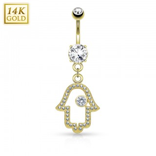 Solid gold belly bar with classy dangling Hamsa hanger