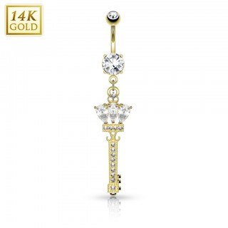 Solid gold belly bar with regal key
