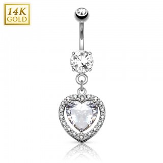 Solid gold belly piercing with heart shaped crystal