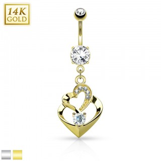 Solid gold belly bar with double heart shaped dangle