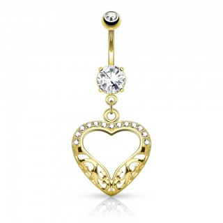 Solid gold belly bar with dangling heart