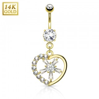 Solid gold butterfly belly piercing with crystal centre