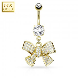 14 Kt. gold belly bar with big bow tie