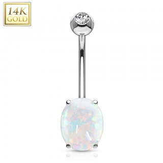 Solid gold belly ring with crystal triangle in gold clamp