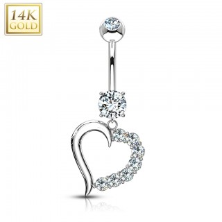 Solid gold belly bar with crystalised open heart