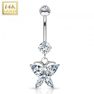 Solid gold belly bar with marquise butterfly