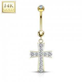 14 Kt. gold belly button piercing with crystal cross on pendant