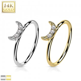 Gold nose ring with small fixed ball