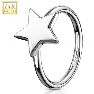 Solid gold cartilage ring topped with star
