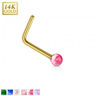 14 Kt. gold nose piercing with opal bead
