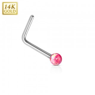 Solid white gold nose stud with opal ball