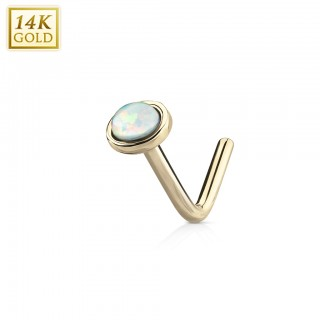 14 Kt. gold nose piercing with opal bezel stone