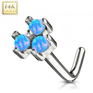 14 kt. gold nose stud with three opal stones