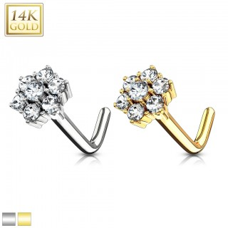 Solid 14 kt. gold nose stud with cluster crystal flower