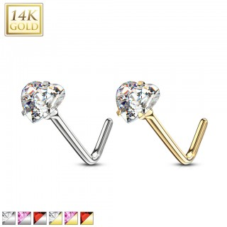 Nose stud of 14 kt. gold with coloured crystal heart top