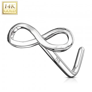14 Kt. gold stud nosepiercing with infinity logo