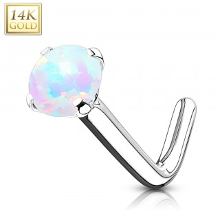 14 kt. gold stud nose piercing with opal stone