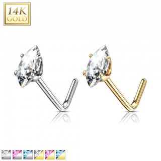 14 kt. gold nose stud with coloured marquise crystal