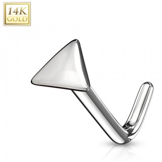 14 kt. gold nose stud with plain triangle