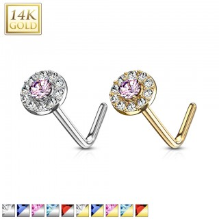 Solid 14 kt. gold nose stud with double layer of crystals