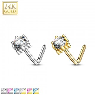 Solid 14 kt. nose stud with squared top and round coloured jewel