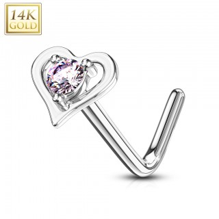 Solid 14 kt. nose stud with heart top and round crystal
