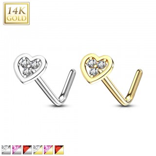Solid 14 kt. nose stud with coloured jewel heart top