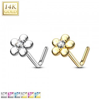 Solid 14 kt. nose stud with petal flower top and coloured jewel