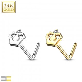 Solid 14 kt. gold L-bend nose stud with baby foot – White Gold