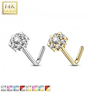 Solid 14 kt. nose stud with clear and coloured gem flower