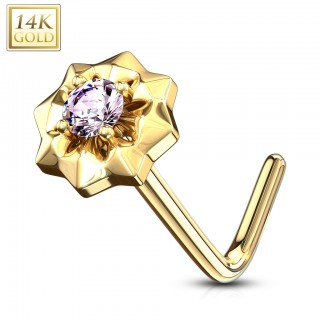 Solid 14 kt. nose stud with coloured gem star