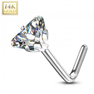 Solid 14 kt. gold nose stud with triangle clear crystal