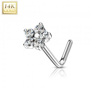Solid gold nose stud piercing with crystalised floral top